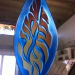 שמע ישראל מזכוכית צורתית בצורת נר