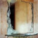כיור משולב מראה מעל ארון אמבטיה